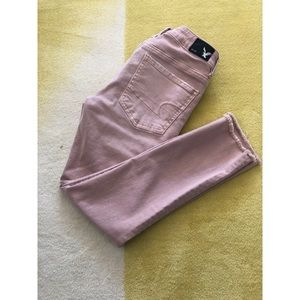 American eagle blush colored crop jeggings size 6